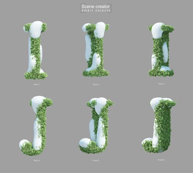 3d-weergave van sneeuw op struiken in de vorm van letter i en letter j scèneschepper