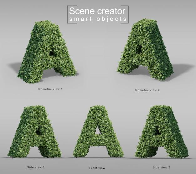 3d-weergave van struiken in vorm van letter a
