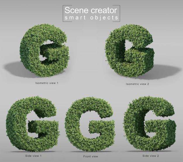 3d-weergave van struiken in vorm van letter g