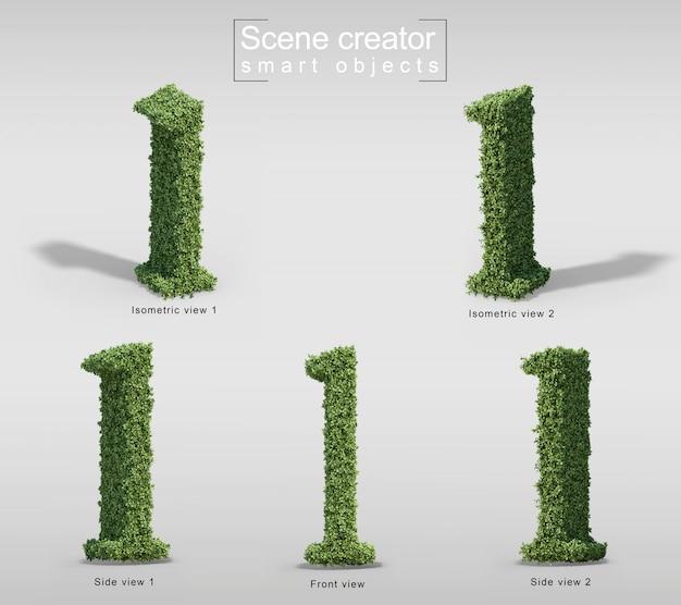 3d-weergave van struiken in vorm van letter l
