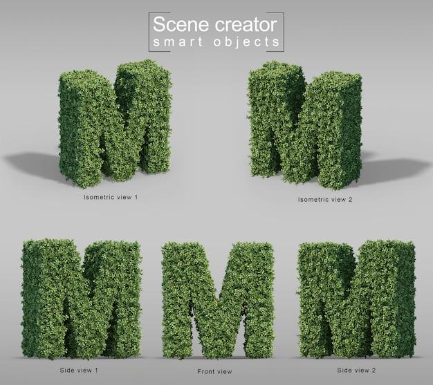 3d-weergave van struiken in vorm van letter m