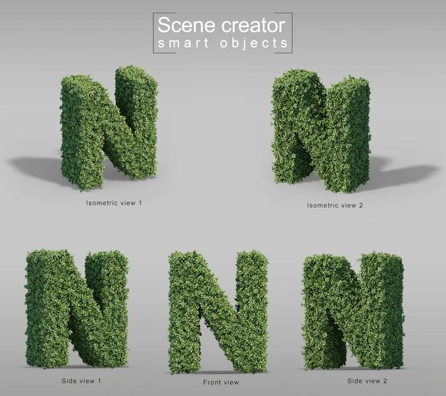 3d-weergave van struiken in vorm van letter n