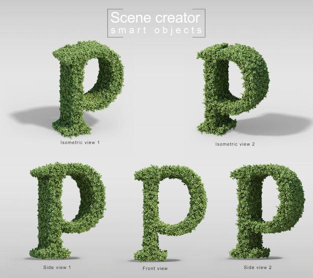 3d-weergave van struiken in vorm van letter p