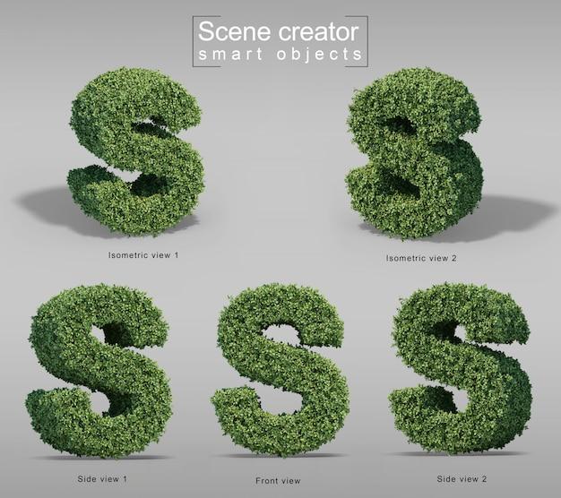 3d-weergave van struiken in vorm van letter s