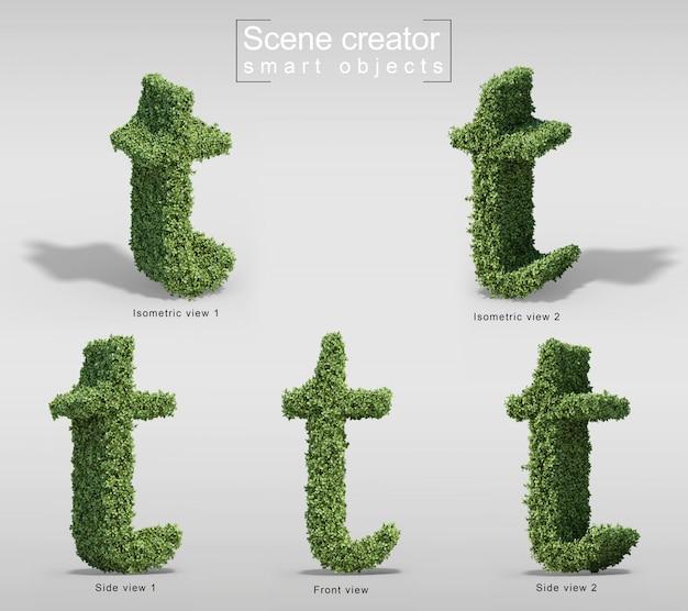 3d-weergave van struiken in vorm van letter t