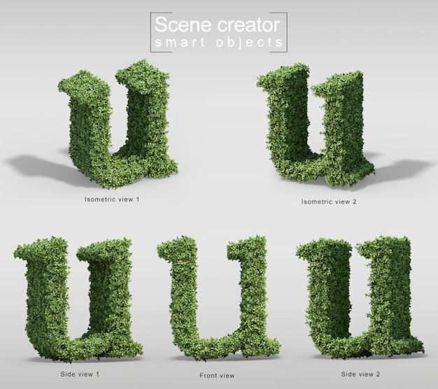 3d-weergave van struiken in vorm van letter u