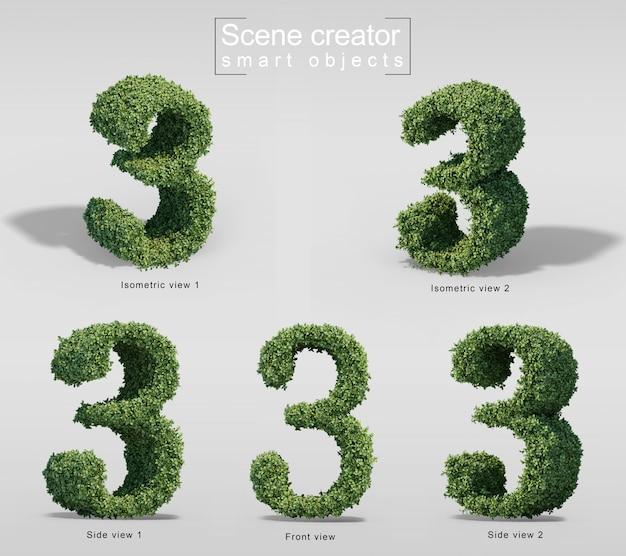 3d-weergave van struiken in vorm van nummer 3