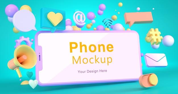 3d-weergave van telefoonmodel en sociaal pictogram