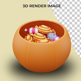 3d-weergave van trick or treat-snoepjes met halloween-concept