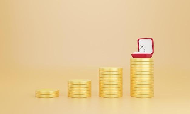 3d-weergave van trouwringen op stapel munten