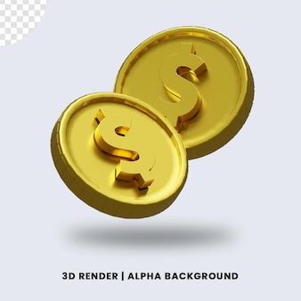 3d-weergave van twee gouden dollar munt met glanzend effect geïsoleerd. handig voor zakelijke of e-commerce illustratie.