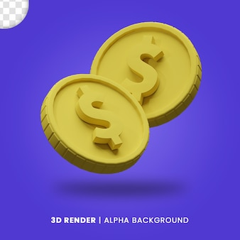 3d-weergave van twee gouden dollar munt met mat effect geïsoleerd. nuttig voor zakelijke of e-commerce project ontwerp illustratie.