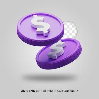 3d-weergave van twee paarse dollar munt geïsoleerd. nuttig voor zakelijke of e-commerce project ontwerp illustratie.