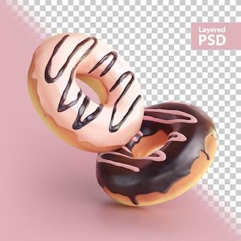 3d-weergave van twee zoete donuts