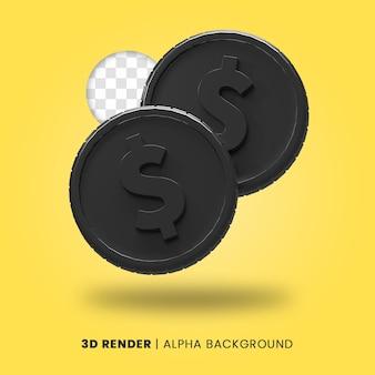 3d-weergave van twee zwarte dollar munt met glanzend effect geïsoleerd. nuttig voor zakelijke of e-commerce projectillustratie.