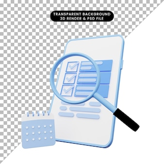 3d-weergave van ui-illustratie op smartphone