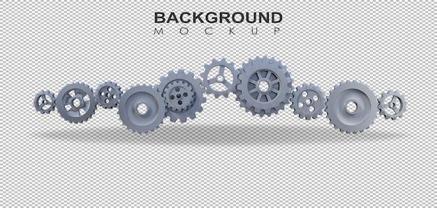 3d-weergave van versnellingen voor geïsoleerd mechanisme