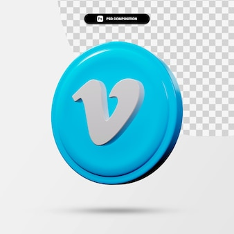 3d-weergave van vimeo-toepassingslogo geïsoleerd