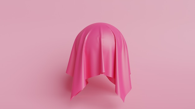 3d-weergave van vorm met roze zijden stof