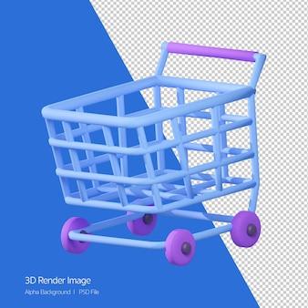3d-weergave van winkelwagen pictogram geïsoleerd op wit.
