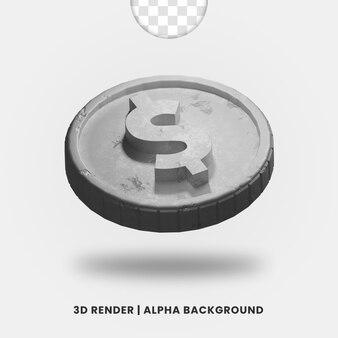 3d-weergave van zilveren metalen dollar munt met glanzend effect geïsoleerd. handig voor zakelijke of e-commerce illustratie.