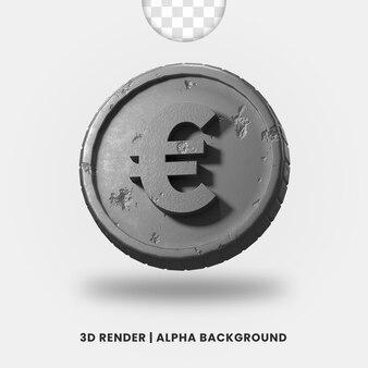 3d-weergave van zilveren metalen euromunt met glanzend effect geïsoleerd. handig voor zakelijke of e-commerce illustratie.