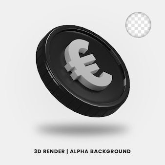 3d-weergave van zwarte euromunt met glanzend effect geïsoleerd. nuttig voor zakelijke of e-commerce projectillustratie.