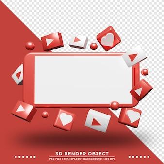 3d-weergave van zwevende smartphone met pictogram app ornament