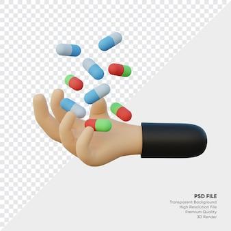 3d-weergave vangt de hand de gevallen capsules