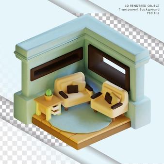 3d weergegeven van schattige blauwe isometrische woonkamer met transparante achtergrond