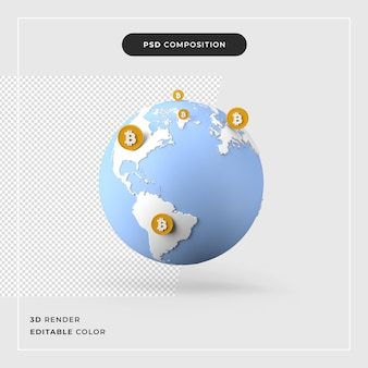 3d wereldwijd bitcoin-transsectieconcept