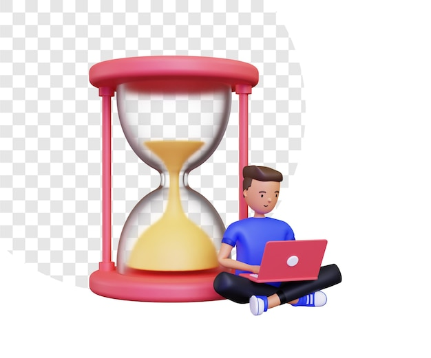 3d-werktijd met een man aan het werk op een laptop naast een zandloper Premium Psd