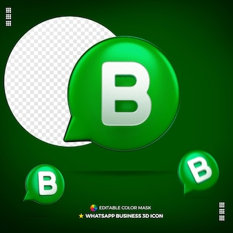 3d whatsapp bedrijfspictogram geïsoleerd