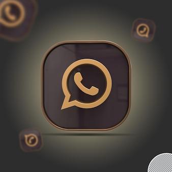 3d whatsapp-pictogram gouden