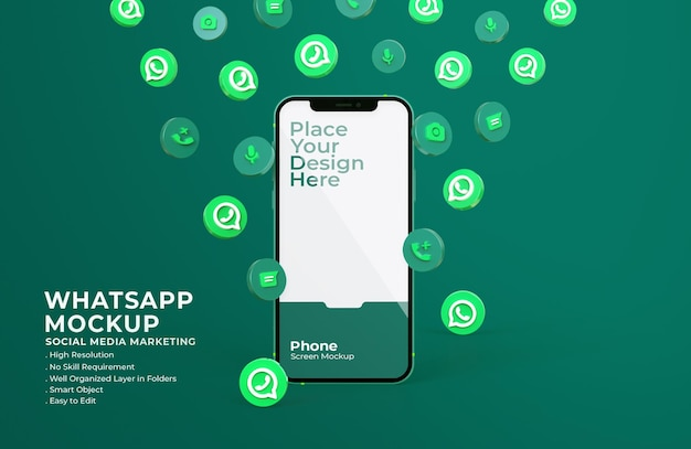 3d whatsapp-pictogrammen met mockup voor mobiel scherm