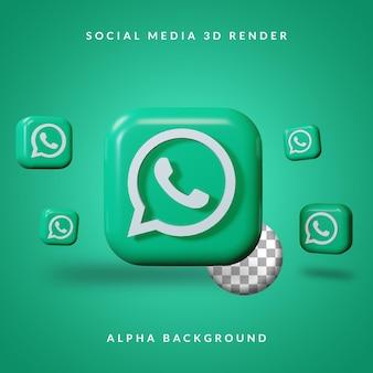 3d whatsapp-toepassingslogo met alpha-achtergrond