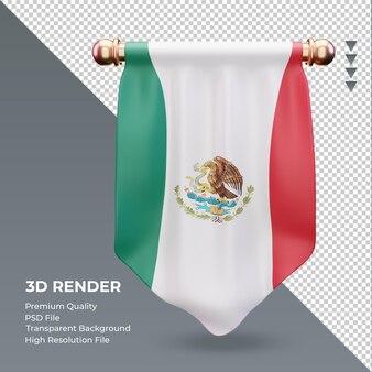 3d-wimpel mexico vlag rendering vooraanzicht