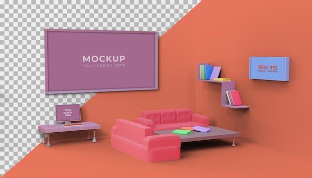 3d-woonkamer ontwerp mockup