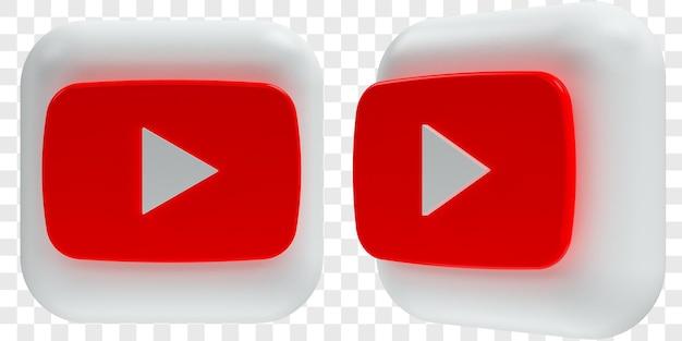 3d youtube-pictogrammen in twee hoeken aan de voorkant en driekwart geïsoleerde illustraties
