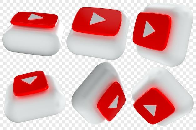 3d youtube-pictogrammen in zes verschillende hoeken geïsoleerde illustraties