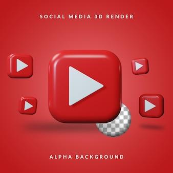 3d youtube-toepassingslogo met alpha-achtergrond