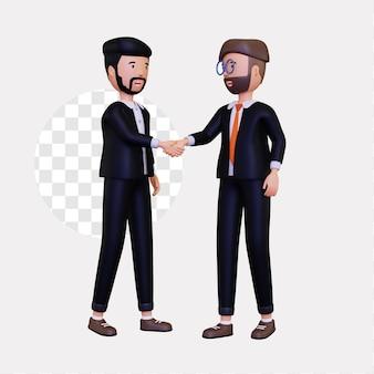 3d-zakenpartners schudden elkaar de hand