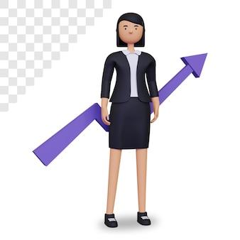 3d zakenvrouwkarakter met bedrijfsgroei