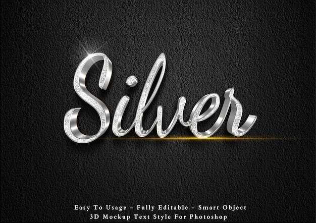 3d-zilveren glitter teksteffect sjabloon