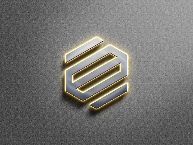 3d-zilveren licht neon logo mockup