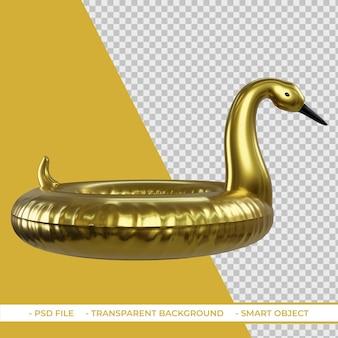 3d zomer gouden flamingo zwembad float geïsoleerd