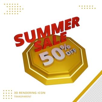3d zomerverkoop kortingsaanbieding in 3d-rendering
