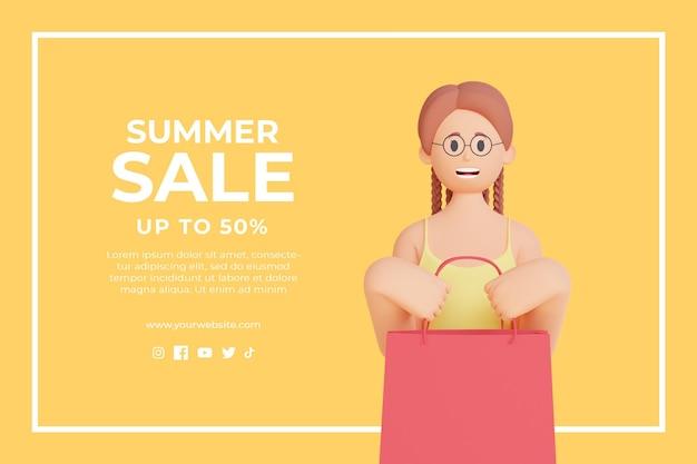 3d-zomerverkoop kortingssjabloon met 3d vrouwelijk karakter