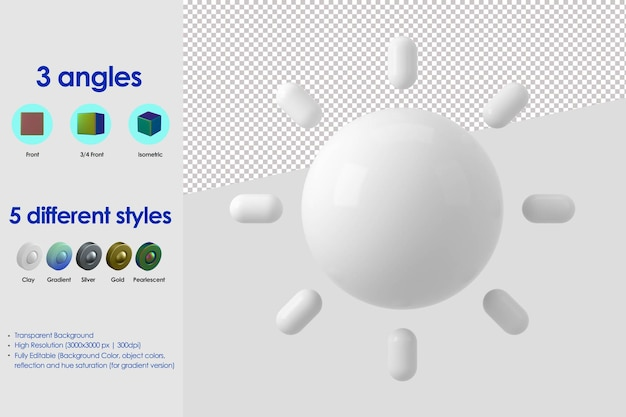3d zon pictogram