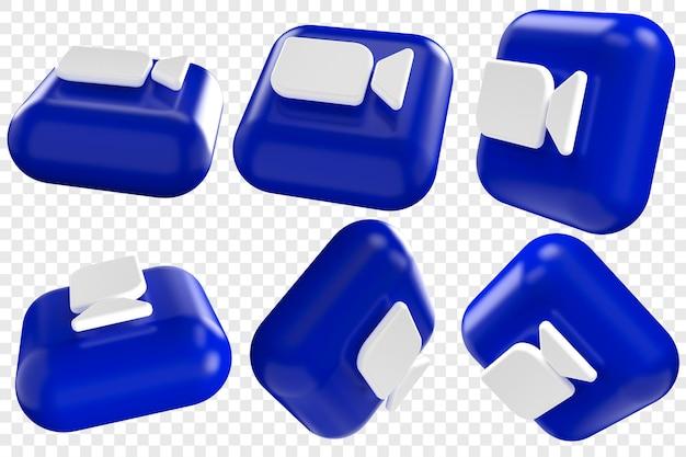 3d zoom-pictogrammen in zes verschillende hoeken geïsoleerde illustraties